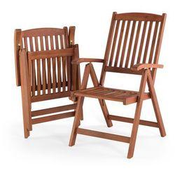 Krzesło ogrodowe drewniane poducha kolorowe pasy TOSCANA (4260586359473)