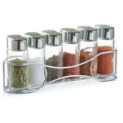 6 pojemników na przyprawy, zioła + metalowy stojak, marki Zeller