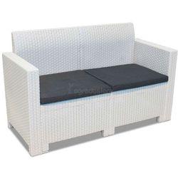 Biała sofa z technorattanu 2-osobowa Nebraska