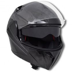 Czarny kask na motor z podwójną szybą (M) - produkt z kategorii- kaski motocyklowe