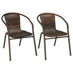 Krzesła ogrodowe 2 szt. metalowe, plecione krzesło na balkon brąz zestaw mix