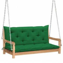Drewniana huśtawka z zieloną poduszką - Paloma 2X