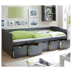 Ticaa łóźko dziecięce z szufladkami maria kolor szary, marki Ticaa kindermöbel