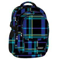 St.reet plecak szkolny bp-01 krata niebieska 609350 marki St. majewski