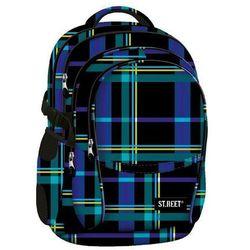 St.reet plecak szkolny bp-01 krata niebieska 609350, marki St. majewski