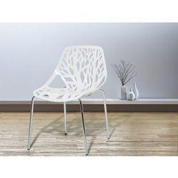 Krzesło ogrodowe - plastikowe białe - krzesło z tworzywa sztucznego - chromowane nogi - bleeker od producenta Beliani