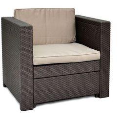 Allibert brązowy fotel + szarobrązowe poduszki provence (3253929185021)