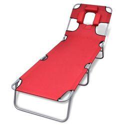 vidaXL Składany leżak z podgłówkiem i regulowanym oparciem, czerwony (8718475910473)