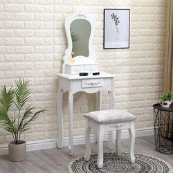 E-lozka Toaletka kosmetyczna z lustrem - mirella - biała + taboret