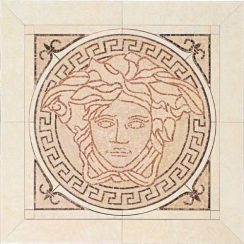 PALACE LIVING Rosoni Medusa in ceramica Rosa/Almond 41x41 (P81)