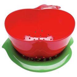 Zak! Designs - Durszlak jabłko z podstawką - czerwono-zielony