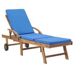 Niebieski leżak ogrodowy z poduszką - santori marki Elior