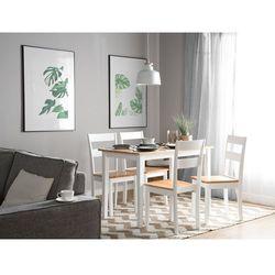 Beliani Stół do jadalni drewniany biało-brązowy 114 x 68 cm georgia (4260586355345)