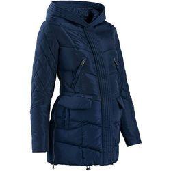 Bonprix Płaszcz ciążowy pikowany z regulacją obwodu  ciemnoniebieski, kategoria: płaszcze i kurtki ciąż