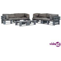 6-cz. zestaw ogrodowy, szare poduszki, palety z drewna fsc marki Vidaxl