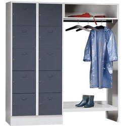 Eugen wolf System garderob ze schowkami, 10 przedziałów po lewej stronie, 10 wieszaków na u