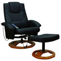 Vidaxl fotel do masażu, resoga, z podnóżkiem, czarny (8718475806639)