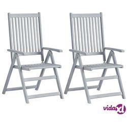 vidaXL Rozkładane krzesła ogrodowe, 2 szt, szare, lite drewno akacjowe (8719883723068)