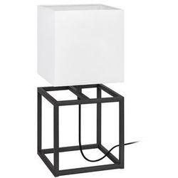 Stojąca LAMPA stołowa CUBE 107306 Markslojd nocna LAMPKA abażurowa do sypialni biała czarna