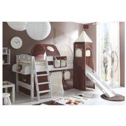 TICAA Łóżko ze zjeżdzalnią i wieżą KENNY sosna biała Classic - beżowo-brązowy (4250393850874)