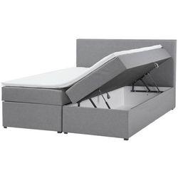 Łóżko kontynentalne szare podnoszony pojemnik 160 x 200 cm SENATOR