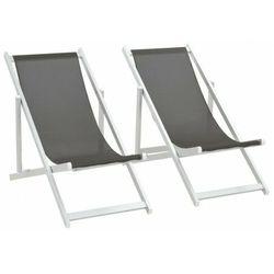 Komplet szarych krzeseł ogrodowych - Larene, vidaxl_44347