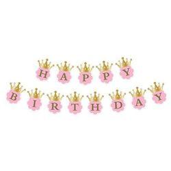 Twojestroje.pl Baner happy birthday z koronami różowy 180 cm