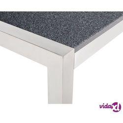 meble ogrodowe - stół granitowy 220 cm szary polerowany z 8 beżowymi k marki Beliani