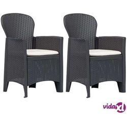 vidaXL Krzesła ogrodowe z poduszkami, 2 szt., brązowe, plastikowe