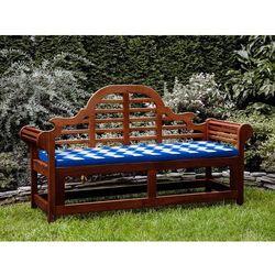 Beliani Ławka ogrodowa drewniana 180 cm poducha w niebiesko-białe zygzaki toscana marlboro (7105274306971)