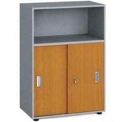 B2b partner Szafa biurowa kombinowana, przesuwne drzwi, 1087 x 800 x 420 mm, czereśnia