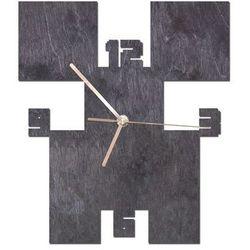 Congee.pl Drewniany zegar na ścianę piksele ze złotymi wskazówkami