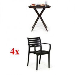 4x krzesło ogrodowe slender, czarne + stolik coffee time gratis marki B2b partner
