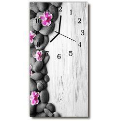 Zegar Szklany Pionowy Kwiaty Kamienie storczyki kolorowy, kolor wielokolorowy