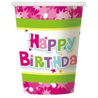 Kubeczki papierowe Happy Birthday różowe