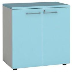 Szafa biurowa z drzwiami, 740 x 800 x 420 mm, biały/turkusowy marki B2b partner