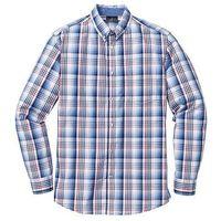 Koszula z długim rękawem regular fit  niebiesko-biały w kratę marki Bonprix