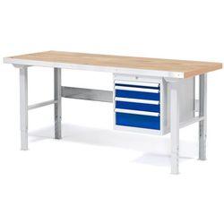 Array Stół warsztatowy z blatem o powierzchni dębowej z 4 szufladami - dł. 1500 mm