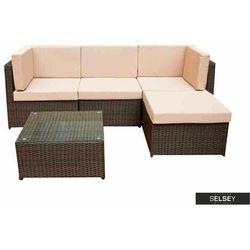 SELSEY Zestaw mebli ogrodowych Deros modułowy ze stolikiem brązowy (5903025547435)