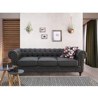 Sofa szara - wypoczynek - tapicerowana - chesterfield marki Beliani