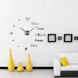 Nowoczesny zegar na ścianę One, two, three srebrny cichy, kolor szary