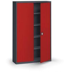 Szafa metalowa, 1950 x 1200 x 400 mm, 4 półki, antracyt/czerwona