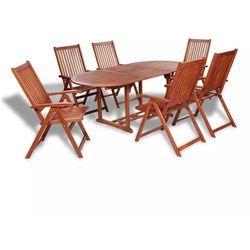 Zestaw mebli ogrodowych z rozkładanym stołem, 7 części, drewno