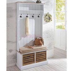 Garderoba z serii provance, matowa biel, dwie skrzynki, naturalne drewno, siedzisko z poduszką, wieszaki. marki Design by impresje24