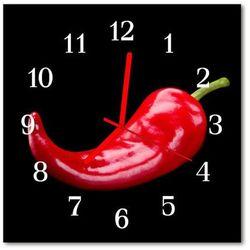 Zegar szklany kwadratowy Papryczka chilli, kolor czerwony