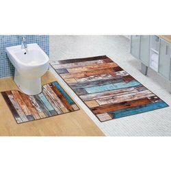 Bellatex Komplet dywaników łazienkowych Drewniana podłoga 3D, 60 x 100 cm, 60 x 50 cm