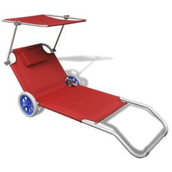 vidaXL Składany leżak z zadaszeniem i kółkami, aluminiowy, czerwony