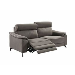 Sofa 3-osobowa BACCI z tkaniny, z elektryczną funkcją relaksu – kolor ciemny szary