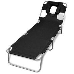 vidaXL Składany leżak z podgłówkiem i regulowanym oparciem, czarny