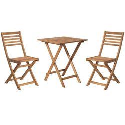 Beliani Stół z krzesłami do ogrodu jasnobrązowy fiji (4260580929856)